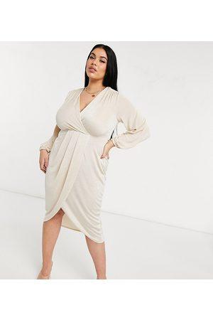 Closet Twist wrap front jersey wrap dress in stone