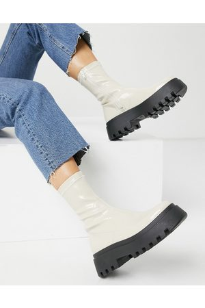 ASOS Ace chunky sock boots in white