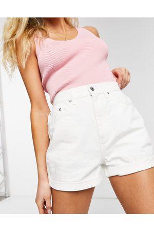 ASOS Denim high rise 'slouchy' mom shorts in white