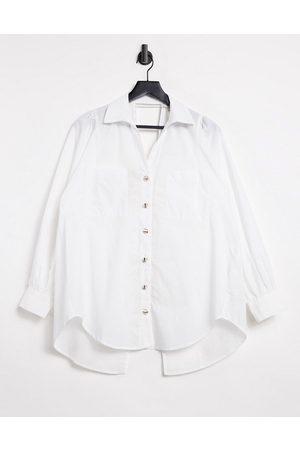 River Island Cut out back stripe poplin shirt in white