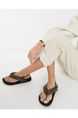 Public Desire Minorca padded toe post sandals in khaki