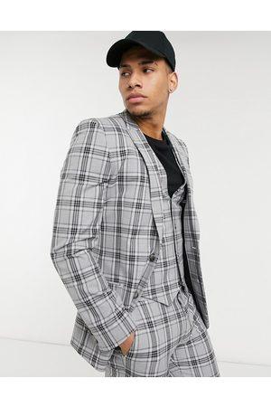 ASOS Super skinny suit jacket in grey tartan check