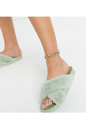ASOS Mujer Flip flops - Wide Fit Fiona fluffy crossover sliders in sage green