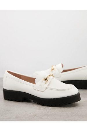 Raid Empire chunky loafers in white with gold snaffle