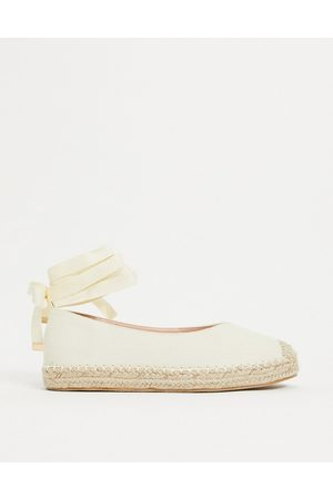 Glamorous Ankle tie espadrilles in natural