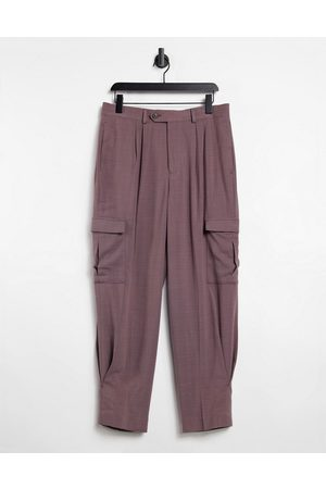 ASOS High waist wide leg smart trouser in purple cross hatch