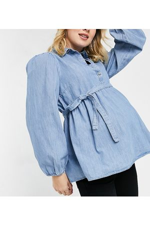 Mama Licious Mamalicious Maternity denim smock shirt with removeable tie waist in blue