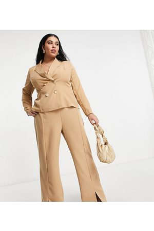 Outrageous Fortune Split front trouser co ord in camel