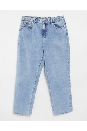 New Look Fray hem straight leg jean in blue