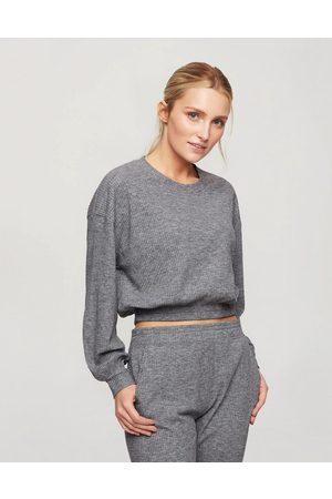 Miss Selfridge Ribbed elastic hem sweatshirt in grey