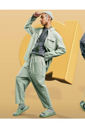 ASOS Hombre Chinos - Drop crotch trousers in lightweight in green