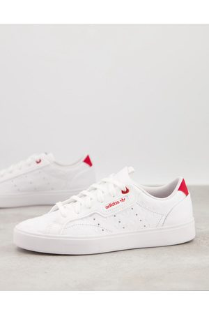 adidas Valentines Sleek trainers in white with heart print