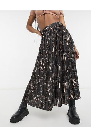 ASOS Jersey pleated midi skirt in abstract print