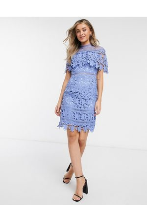 Chi Chi London Lace short sleeve dress in blue