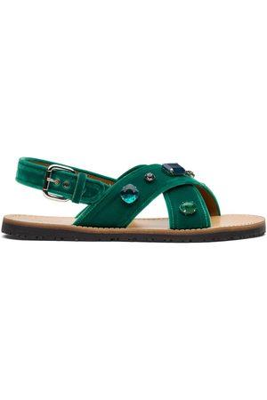 adidas Mujer Sandalias - Crystal-embellished velvet-strap sandals