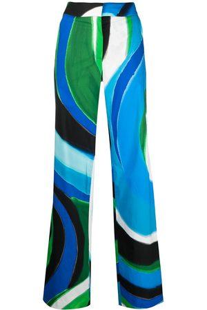 adidas Mujer Acampanados - Painterly-print flared trousers
