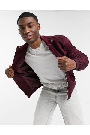 adidas Harrington jacket with funnel neck in burgundy