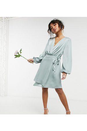 TFNC Bridesmaid satin long sleeve wrap front mini dress in sage