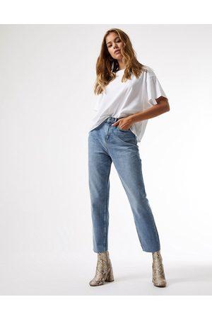 Miss Selfridge High waist slim leg jean in mid wash blue