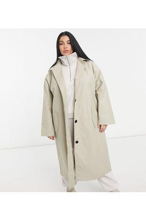 adidas ASOS DESIGN Curve hero oversized boyfriend trench coat in stone