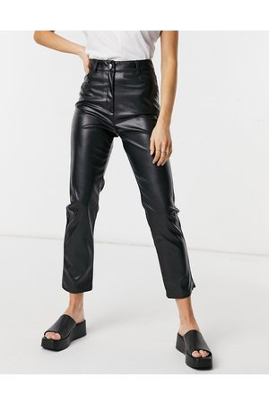 adidas Leather look trouser in black