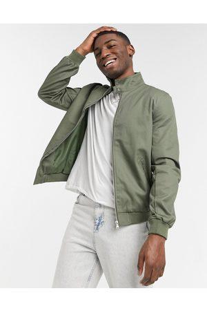 adidas Harrington jacket with funnel neck in khaki