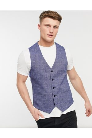 adidas Hombre Chalecos - Checked slim fit waistcoat in blue and black