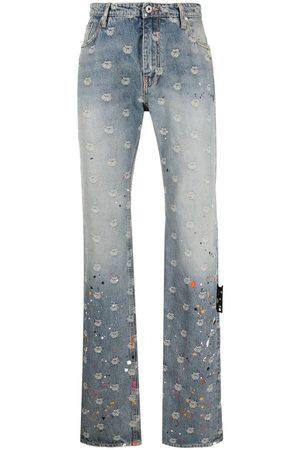 OFF-WHITE Hombre Rectos - Logo-jacquard paint-splatter jeans