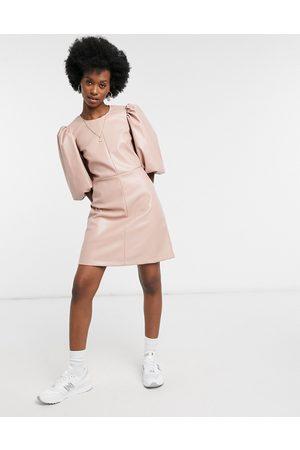 Closet Structured sleeve PU mini dress in taupe