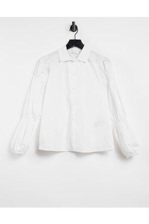 VILA Shirred sleeve shirt in white