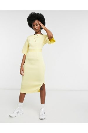 Closet Ribbed pencil work midi dress with tie back in lemon