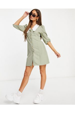 Unique 21 Puff sleeve collar dress in sage green