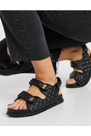 Public Desire Carmen chunky grandad sandals in black quilt