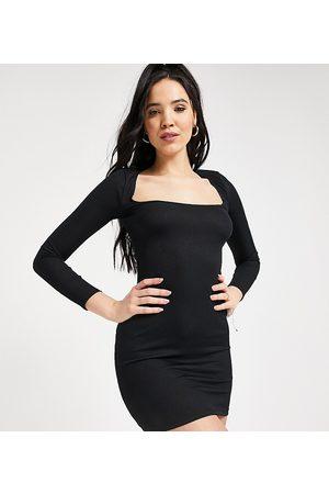 Flounce London Flounce Tall scoop neck ribbed mini dress in black