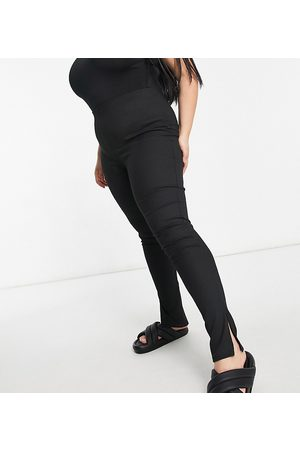 Flounce London Flounce Plus narrow ribbed leggings with side split in black