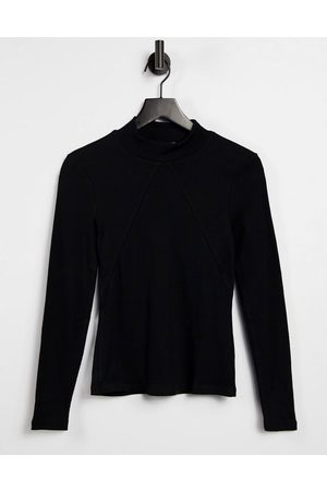 VERO MODA Ribbed high neck top with front seam detail in black