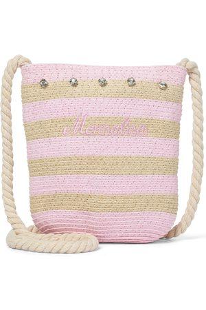 MONNALISA Embellished striped straw shoulder bag