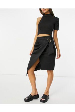 Closet Woven wrap midi skirt with D