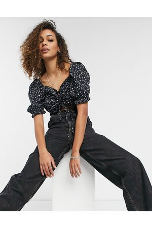 Urban Bliss Sheered ruched top in black ditsy floral