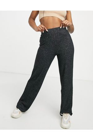 Pieces Matilde highwaisted wide leg knitted trouser co ord in black