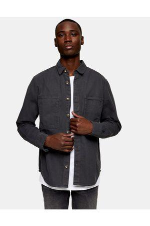 Topman Herringbone overshirt in charcoal grey