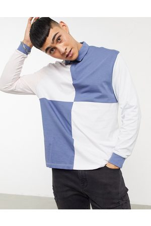 ASOS Organic relaxed long sleeve rugby polo shirt in colour block
