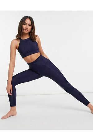 Onzie High waisted ribbed leggings in navy blue
