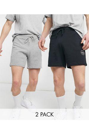 Jack & Jones Originals 2 pack stamp logo shorts in black & grey