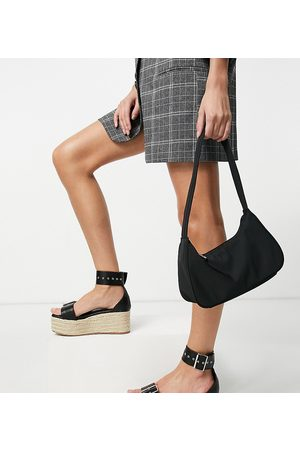 Truffle Collection Mujer Alpargatas - Wide fit platform buckle espadrilles in black