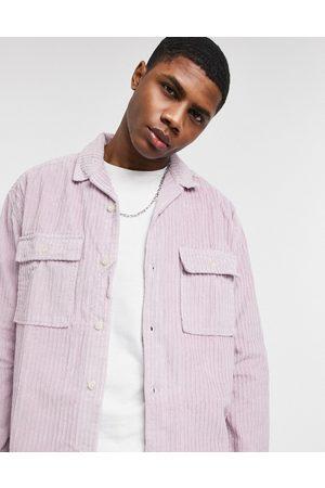 ASOS 90s oversized chunky irregular cord shirt in pastel lilac