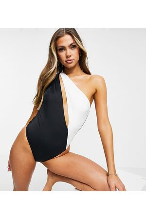 Free Society One shoulder cut out swimsuit in black and white