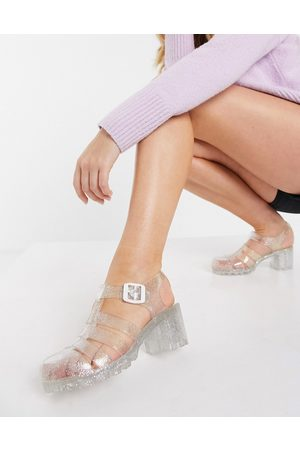 London Rebel Jelly heeled shoes in clear