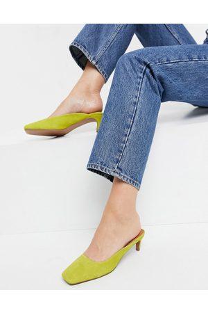 ASOS Sunshine leather kitten heels in chartreuse