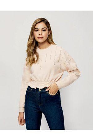 Miss Selfridge Pearl detail sweatshirt in